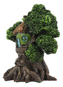 "Ebros Whimsical Forest Ent Greenman Cottage Nook Green Hut Tree House Statue with Mushroom Conk Steps 6.5"" High As Fairy Garden Treehouse Accessory Decor for Home Collectible Figurine"