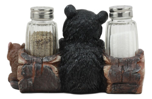 Baby Bear Cub Sitting In Log With Squirrel Salt And Pepper Shakers Holder Statue