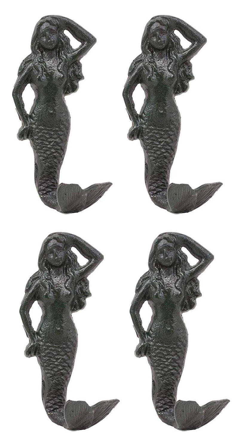 "Ebros Gift 6""H Mermaid Cast Iron Rustic Wall Coat Hook For Keys Leashes Hats (4)"