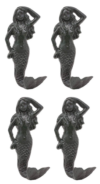 "Ebros Gift 6""H Nautical Siren Mermaid Cast Iron Rustic Black Vintage Finish Wall Coat Hook Ocean Goddess Princess Coastal Beach Under The Sea Mermaids Decorative Accent Hooks For Keys Leashes Hats (4)"