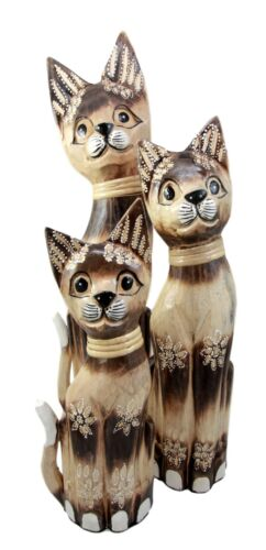 "Balinese Wood Handicraft Striped Feline Cat Family Set of 3 Figurines 20""H"