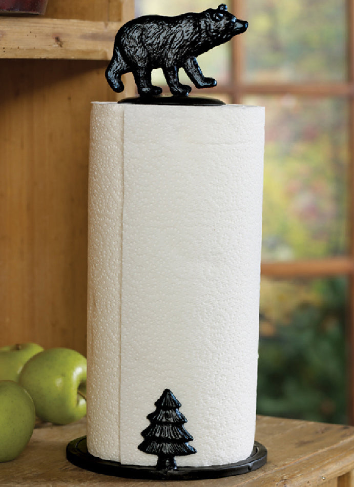 Rustic Forest Black Bear With Pine Tree Cast Iron Paper Towel Holder Dispenser