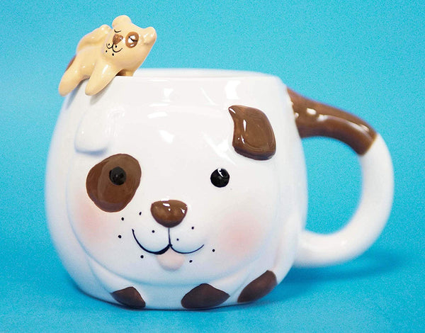 Ebros White And Chocolate Dog Ceramic Coffee Mug With Puppy Latch On Spoon Set