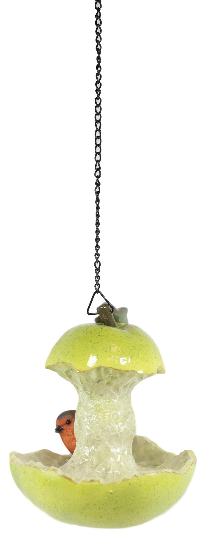 Green Pear Fruit With Perching Finch Bird Feeder With Hanging Chains Figurine