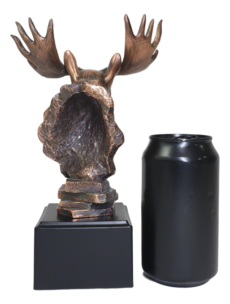 Rustic Western Bull Moose Head Bust Statue In Bronze Electroplated Resin Finish