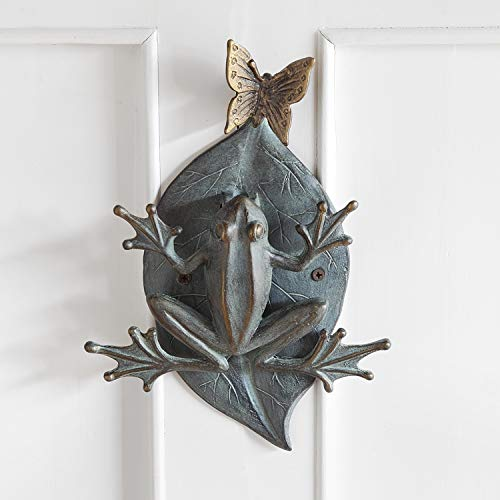 "Ebros Gift Large 12"" Tall Aluminum Metal Whimsical Frog On Giant Leaf with Butterfly Door Knocker Statue Zen Feng Shui Frogs Home Decorative Accent Sculpture"