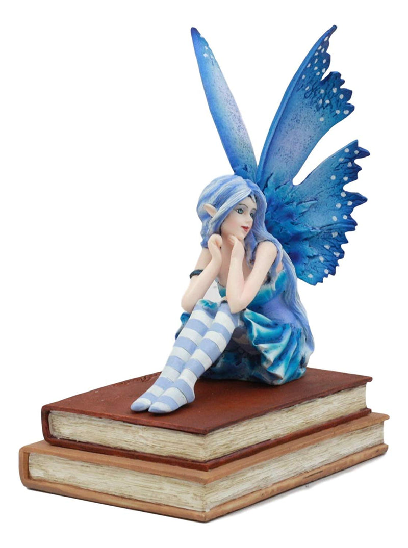 "Ebros Amy Brown Pretty Blue Moon Scholar Book Muse Fairy Statue 6.5"" Tall Fantasy Mythical Faery Magic Watercolor Collectible Decor Figurine"