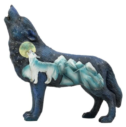 "Starry Nights Native Tribal Howling Wolf Totem Spirit Figurine Collection 6.25""L"