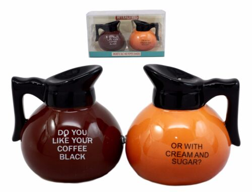 Breakfast Black Or Cream Coffee Pots Salt And Pepper Shakers Ceramic Figurines
