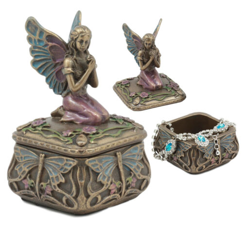 Art Nouveau Mythical Dragonfly Whisperer Fairy Fae Secret Jewelry Box Figurine - Atlantic Collectibles
