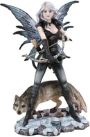 "Ebros Fairy Goddess Artemis Hunting with Gray Wolf Statue 10"" Tall Fantasy Fae"