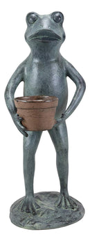 "Ebros Gift 19"" Tall Aluminum Metal Green Thumb Whimsical Gardening Frog Carrying A Planter Pot Garden Statue Frogs Spring Summer Pastime Patio Pool Pond Lawn Yard Decorative Rustic Sculpture Accent"