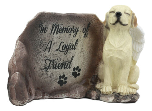 """In Memory Of A Loyal Friend"" Labrador Retriever Dog With Angel Wings Statue"