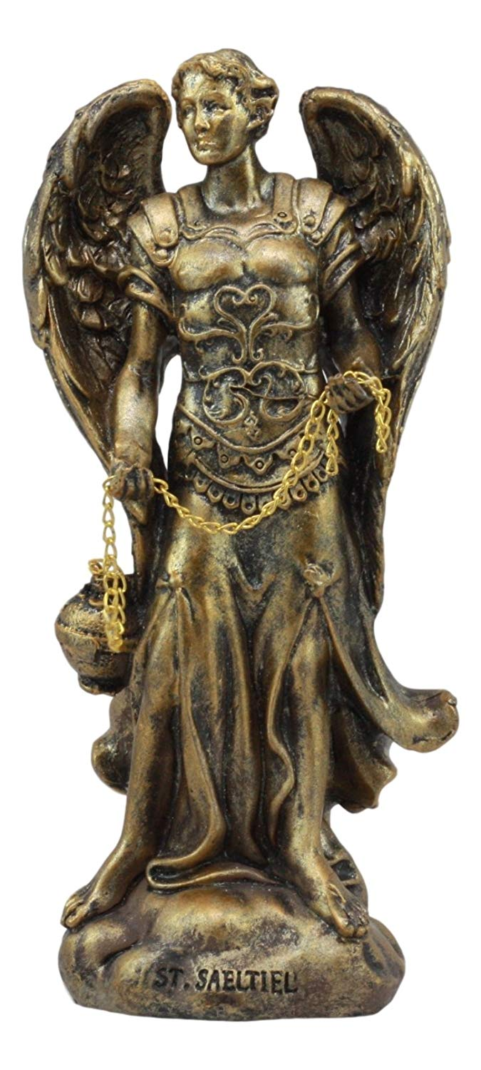 "Ebros Bronzed Greek Orthodox Christian Church Archangel Of The Angelic Council Statue 5"" Tall Figurine (Sealtiel The Prayer Of God)"