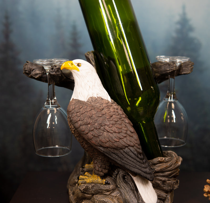 Liberty American Bald Eagle Bird Wine Valet As Bottle & 2 Glasses Holder Statue