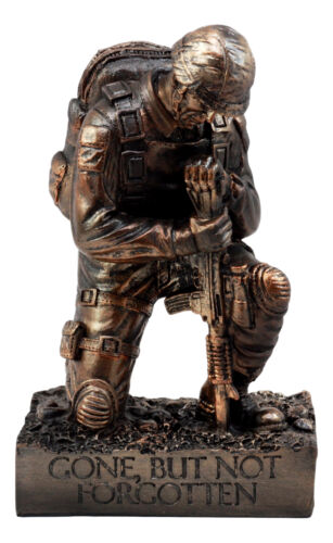 "War Battlefield Kneeling Soldier Statue 8.5""H Honor & Valor Military Combat Unit"