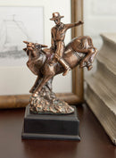 Rustic Western Rodeo Cowboy With Bucking Bull Bronze Electroplated Figurine