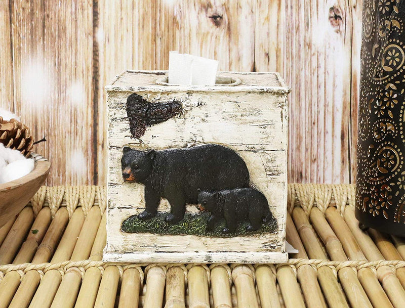 Ebros Wildlife Rustic Black Bear in Pine Trees Forest Bathroom Accent Resin Figurine Accessories with Birch Wood Finish Western Country Cabin Lodge Decorative (5 Piece Bath Set and 2 Towel Racks)