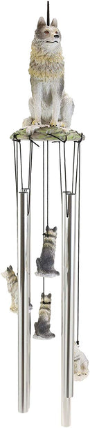 Ebros Gray Wolf Sculptural Wind Chime Resonant Relaxing Patio and Garden Chimes