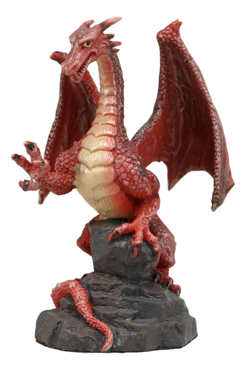 "Ebros Whimsical Red Lava Dragon Climbing On Volcanic Rock Statue 4.25"" Tall Dungeons and Dragons Legends Fantasy Home and Garden Accent Decor Sculpture Medieval Renaissance Figurine Collectible"