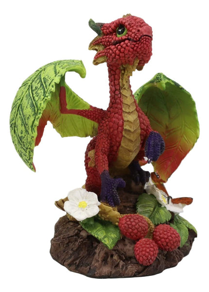 Ebros Colorful Garden Fruits and Berries Green Thumb Dragon Statue by Stanley Morrison Medieval Fairy Dragons Fantasy Decor Figurine (Very Berry Raspberry)