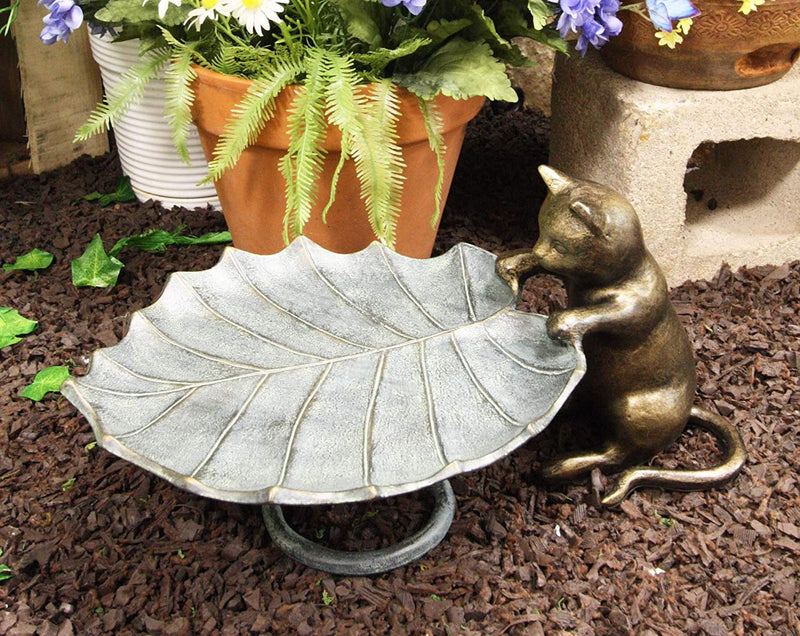 "Ebros Gift 17"" Long Aluminum Metal Rustic Whimsical Curious Kitten Cat Peeking Over Giant Leaf Bird Feeder Holder Garden Statue Outdoors Cats Sculpture for Lawn Pool Patio Pool Backyard Decor Accent"