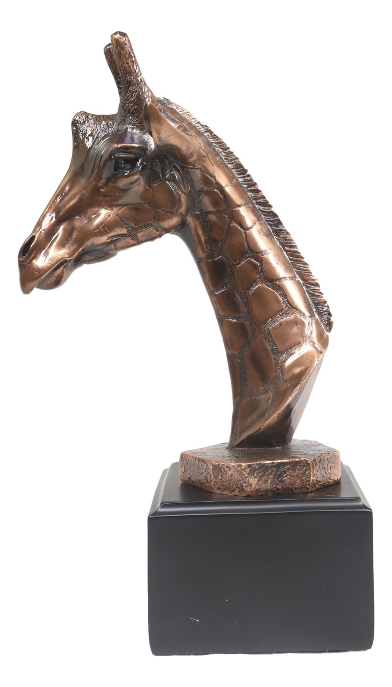 Wild Safari Giraffe Head Bust Electroplated Bronze Finish Statue With Base