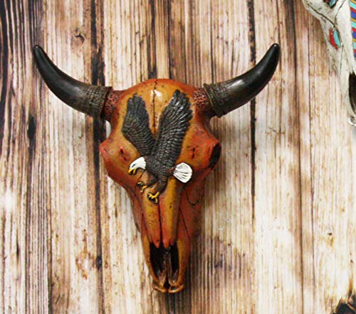 "Ebros 10.5"" Wide Western Southwest Steer Bison Buffalo Bull Cow Horned Skull Head with Swooping Eagle Design Wall Mount Decor - Ebros Gift"