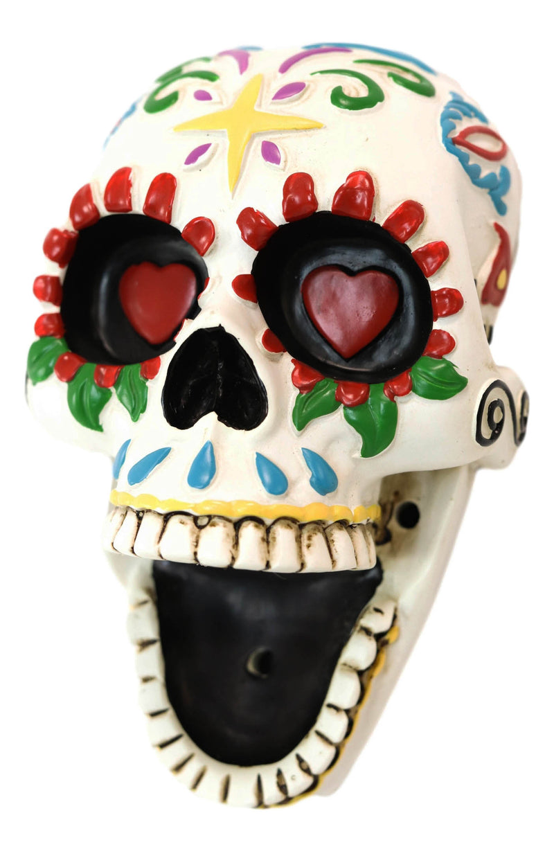 Ebros Day of The Dead White Floral Sugar Skull Wall Mounted Bottle Opener