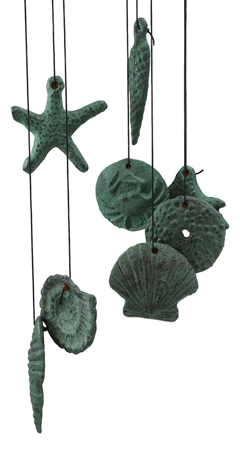 Ebros Antique Verdigris Finish Cast Iron Nautical Marine Sea Octopus Wind Chime Noisemaker Mobile with Starfish and Seashells Ornaments Davy Jones Kraken Cthulhu Outdoors Pool Patio Garden Decorative