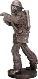 Ebros Bronze Fire Fighter With Hose Figurine 12 Inch Tall Premium Resin Made Sculpture