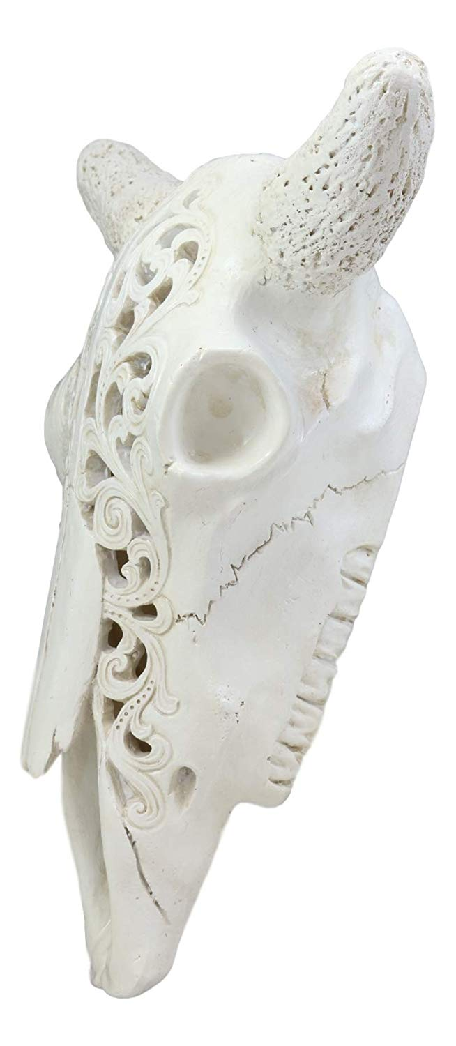 "Ebros 10.5"" Wide Southwest Off White Steer Bison Buffalo Bull Cow Horned Skull Head with Lace Filigree Design Hanging Wall Mount Decor - Ebros Gift"