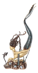 4 Feet Tall Aluminum Nautical Golden Mermaid Diving By Starfishes Coral Statue