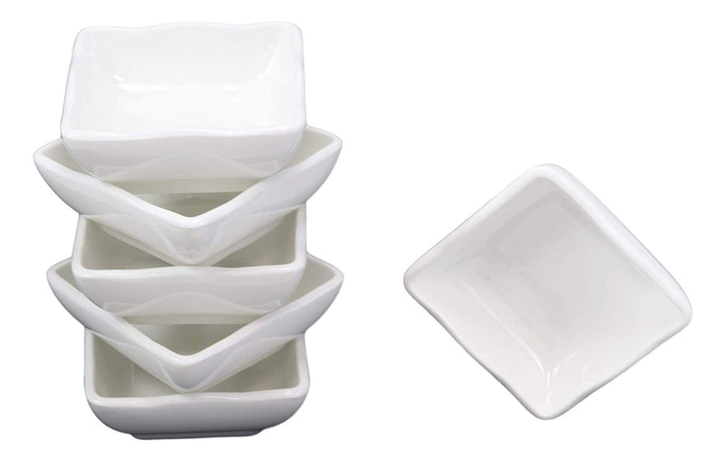 Ebros Contemporary Wavy Artistic Design White Porcelain Condiments Ketchup Mustard BBQ Soy Sauce Dipping Bowl or Dish 2oz Pack of 6 Bowls