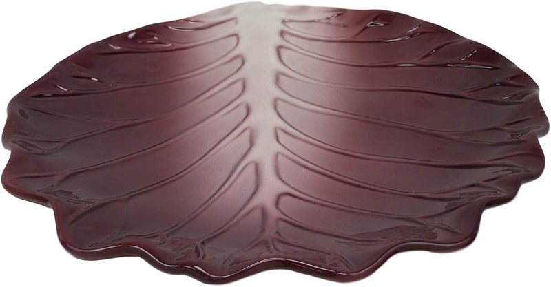 "Ebros 12""W Ceramic Red Lettuce Shaped Serving Plate or Dish Platter (1 PC) - Ebros Gift"