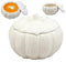 "Ebros Ceramic Stoneware White Harvest Pumpkin Bowl With Lid 6""Diameter X 1 PC"