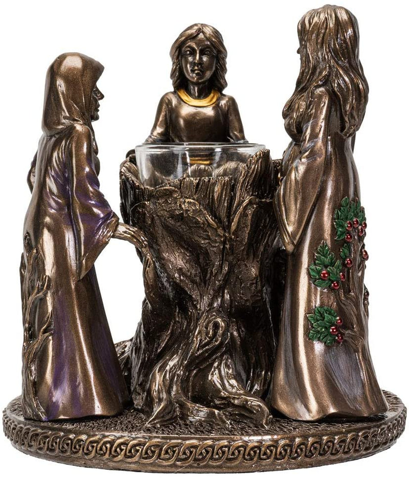 Triple Goddess Mother Maiden Crone Candle Holder Home Decor Figurine