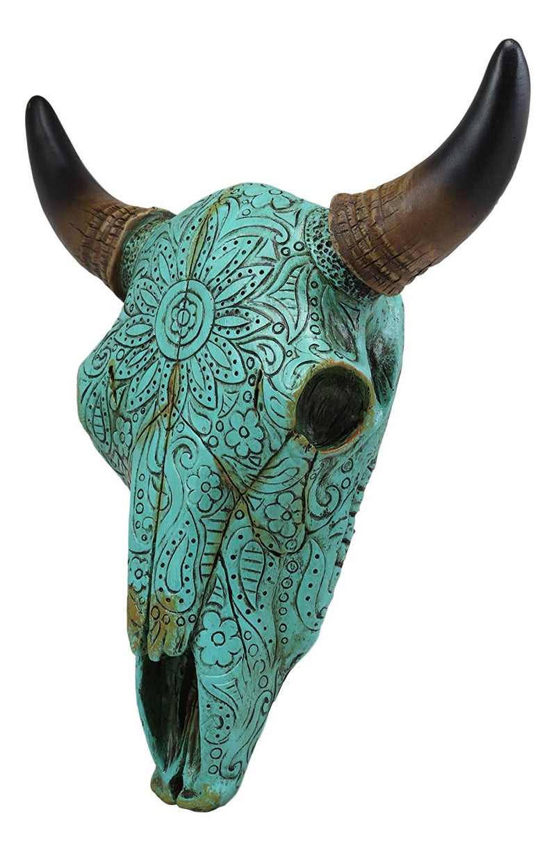 "Ebros 10"" Wide Western Southwest Steer Bison Buffalo Bull Cow Horned Skull Head Turquoise Floral Lace Design Wall Mount Decor - Ebros Gift"