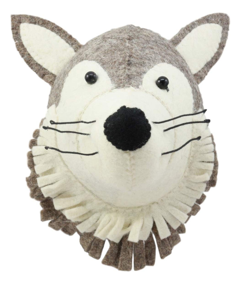 Ebros Fiona Walker England Handmade Organic Baby Animal Head Wall Decor Mini Safari and Farmland Collection (Mini Wolf)