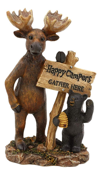 "Ebros Whimsical Forest Black Bear with Honeycomb Beehive and Elk Moose Standing by Happy Campers Gather Here Sign Statue 7.25"" H Rustic Cabin Lodge Country Guest Greeter Welcome Signs Accent Figurine"
