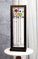 Ebros Frank Lloyd Wright Coonley Playhouse Right Panel Stained Glass Wood Framed