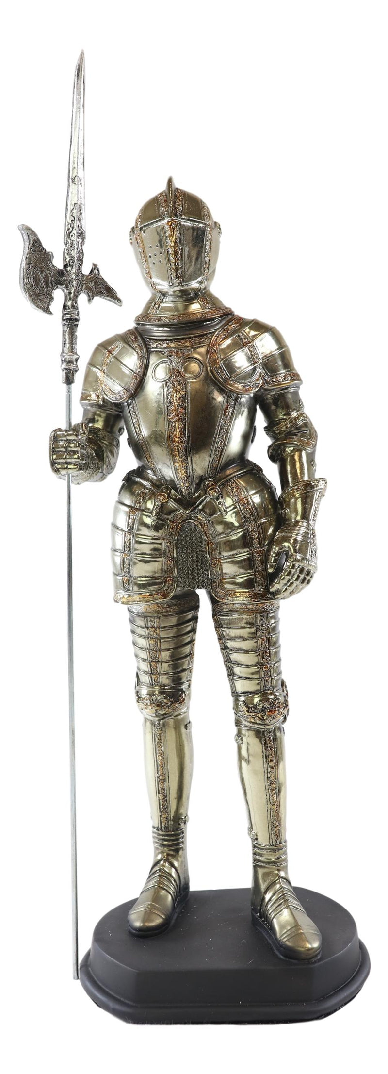 Medieval Fleur De Lis French Halberdier Pikeman Knight In Suit Of Armor Statue