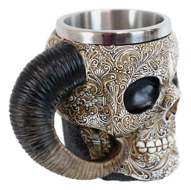 Ram Horned Tribal Floral Lace Tooled Skull Beer Stein Tankard Coffee Cup Mug