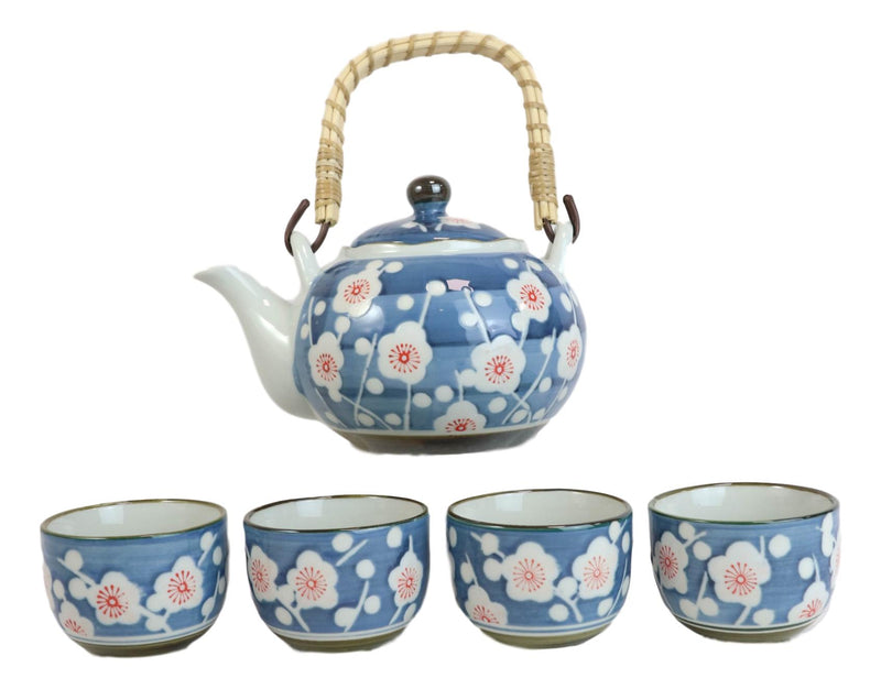 Japanese Cherry Blossom Blue Ceramic 24oz Tea Pot With 4 Cups And Strainer Set