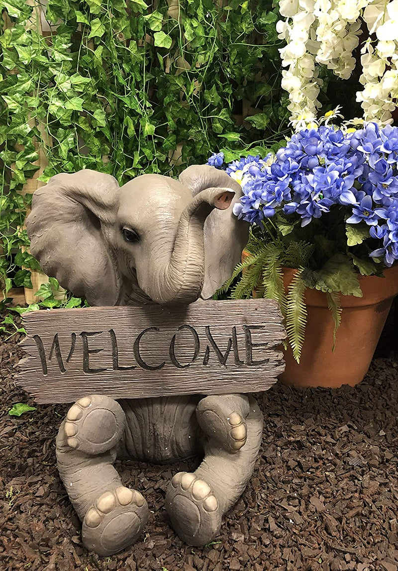 Safari Wildlife Adorable Elephant Pachy Welcome Sign Figurine Patio Decor Statue