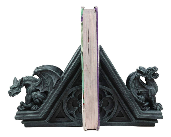 "Ebros Gothic Roaring Gargoyles with Celtic Floral Knotwork Bookends Figurine Set in Rooftop Sculptural Design 7"" High Medieval Renaissance Architectural Goth Decor Resin Sculptures Gargoyle Statue"