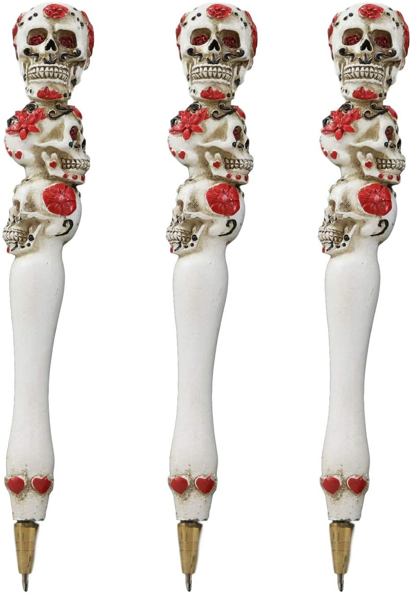 Ebros Day Of The Dead Sugar Skull Pen Set of 3 Writing Pens (Hearts And Roses)