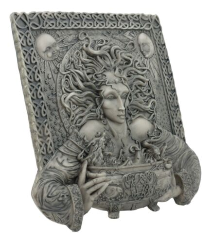 Celtic Goddess of Rebirth Cerridwen With Magical Potions Cauldron Wall Decor