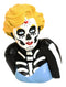 "Day of The Dead Sugar Skull Blonde Marilyn in Blue Tie Tube Top Figurine 4"" Tall"