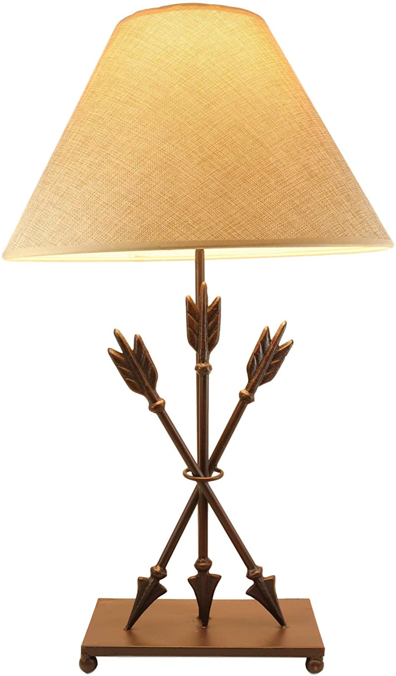 Ebros SET OF 2 Crossed Arrows with Ring Center Base Desktop Table Lamps w/ Shade